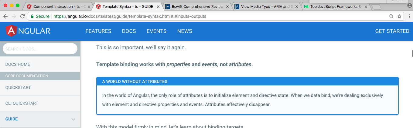 angular 2  binds with properties not attributes except sometimes ...